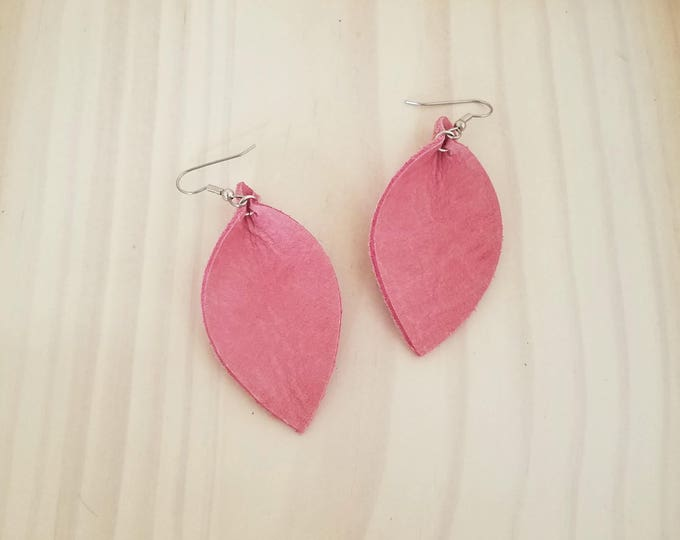 """Pink Flamingo Leather Statement Earrings / FREE SHIPPING /  /  / Leaf / 2.5""""x1.25""""/ Hypo-Allergenic / Spring"""