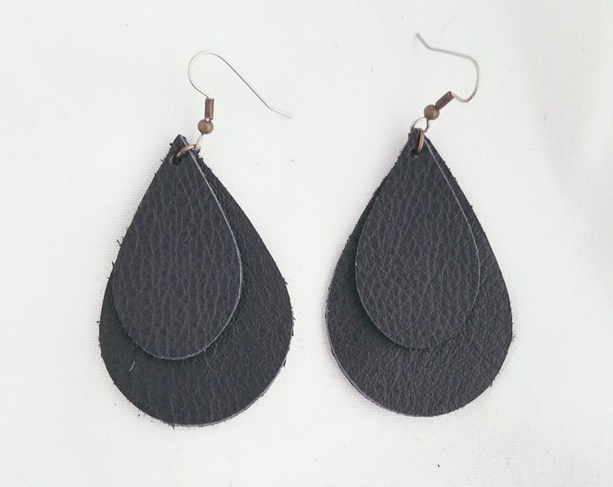 "Black / Leather Earrings / FREE SHIPPING / Teardrop / Layered / Classic / Statement / Medium/ 2.25""x1.5""/ Hypoallergenic / Mothers Day Gift"