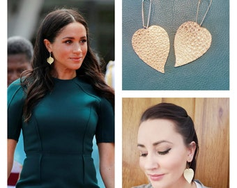 Meghan Markle Earrings / Gold or Silver Earrings / Leather Earrings / Drop Earrings / Leaf Earrings / Duchess / Statement Earrings / 3 x 1.5
