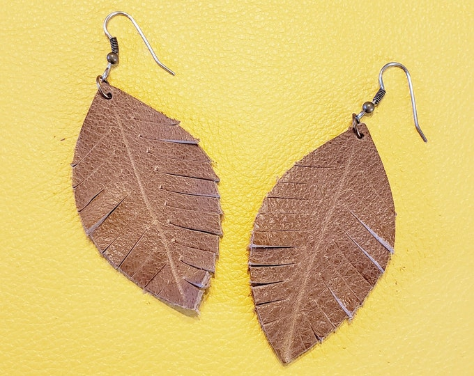 Rustic Brown Leather Earrings / Fringed Leather Leaf Earrings / Rustic Earrings / Boho Earrings / Fringe Jewelry /  Jewelry