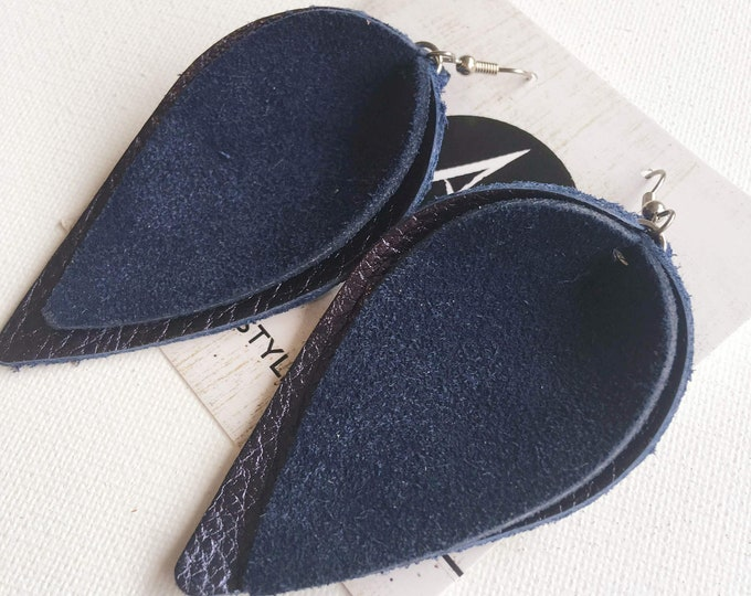 "Genuine Leather Earrings / Navy Suede / Layered Petal / 2019 Suede Collection /  Style / Large / 3 x 1.75"" / Hypoallergenic"