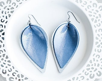 Genuine Leather Earrings / Layered Petal / Ice Queen (Blue/Silver) / Shimmer / Layered Leather Earrings / Rustic / Metallic Sheen / Large