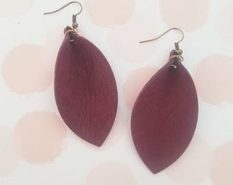 """Rustic Berry Leather Earrings / FREE SHIPPING /   / Fixer Upper / Leaf Shape/ 2.5""""x1.25""""/ Hypo-allergenic/"""