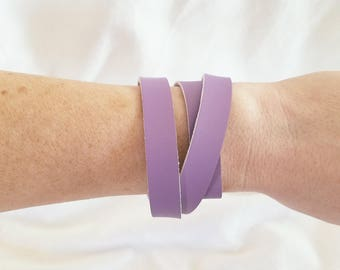 """Lilac Leather Wrap Bracelet / FREE SHIPPING /  Style / Fixer Upper /  / Antique Brass Snap Closure/ .5""""x24"""""""