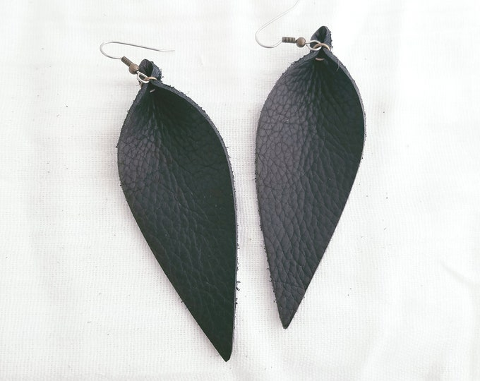 """Black / Leather Earrings / FREE SHIPPING/ Joanna Gaines / Magnolia Market / Zia / Statement / Leaf / Long/ 3.5""""x1.25""""/  Hypoallergenic"""