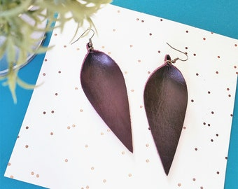"Leather Leaf Earrings / Blackberry / Genuine Leather / Statement Earrings / Wine Earrings / Burgundy Earrings / Feather / Long / 3.5""x1.25"""