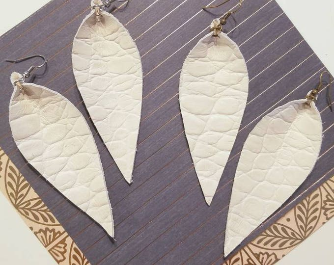 """Antique White / Textured / Leather Earrings / FREE SHIPPING /  /  / Statement / Leaf / Long/ 3.5""""x1.25"""" / Hypoallergenic"""