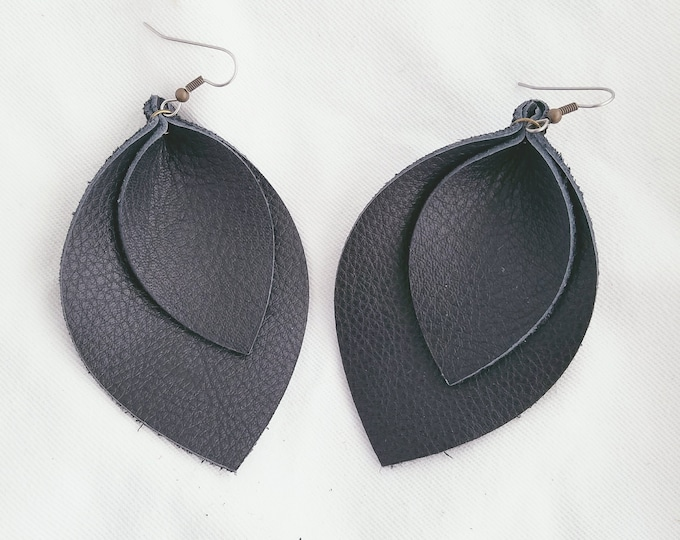"Black / Layered / Leather Earrings / FREE SHIPPING /  / / Statement / Leaf / X-Large / 3.25""x 2.25""/ Hypoallergenic"