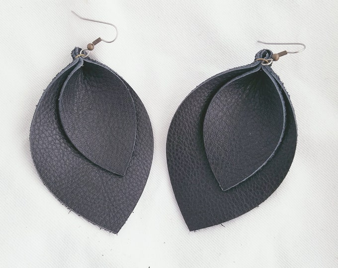 "Black / Layered / Leather Earrings / FREE SHIPPING / Joanna Gaines / Magnolia / Statement / Leaf / X-Large / 3.25""x 2.25""/ Hypoallergenic"