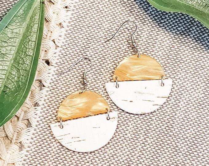 Geometric Cork, Leather & Acrylic Resin Statement Earrings, Half Moon Semi Circle Earrings, Lightweight, Modern Earrings, Marbled Honeycomb