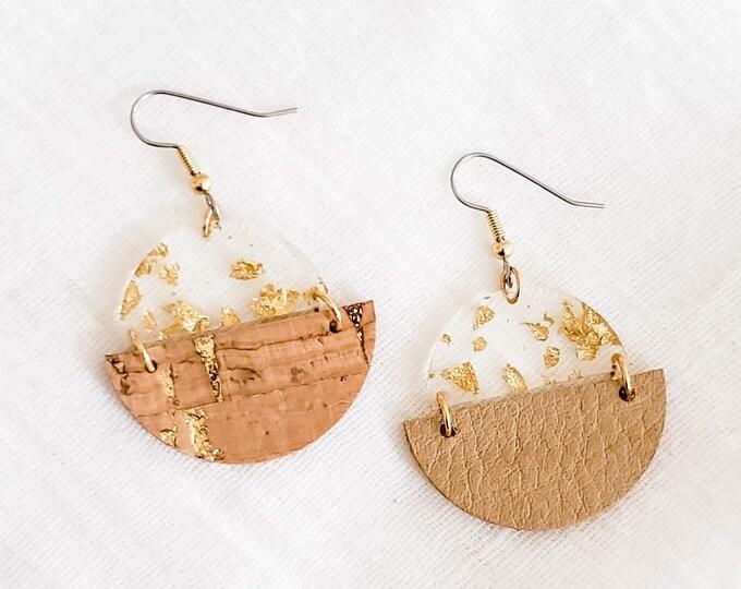 Geometric Cork, Leather & Acrylic Resin Statement Earrings, Half Moon Semi Circle Earrings, Lightweight, Modern Earrings, Gold Fleck Cork