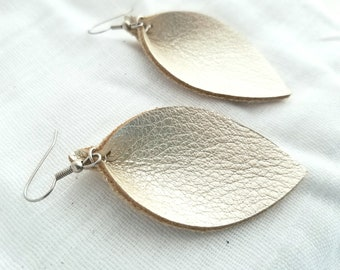 """Champagne Metallic / Leather Earrings / FREE SHIPPING / Joanna Gaines / Magnolia Market / Zia / Leaf / 2.5""""x1.25""""/ Hypoallergenic / Spring"""