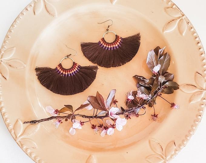 Large Hoop Fan Tassel Earrings, Brown Fan Earrings, Tassel Jewelry, Large Fan Earrings, Large Fringe Earrings, Statement Jewelry, Bold Style