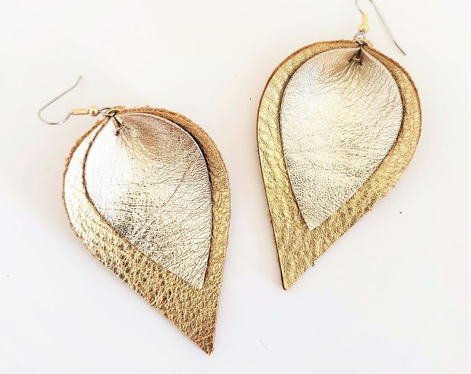 Metallic Layered Leather Earrings/ Precious Metals/ Shimmer Collection/ Petal Earrings/  Style/ Multiple Sizes/ Gift for her
