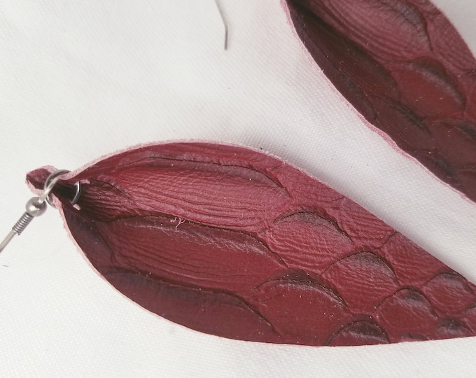 """Wine Serpent / Leather Statement Earrings / FREE SHIPPING/  /  Inspired / Leaf / Lrg / 3.25""""x1.25""""/ Hypoallergenic / Gift"""