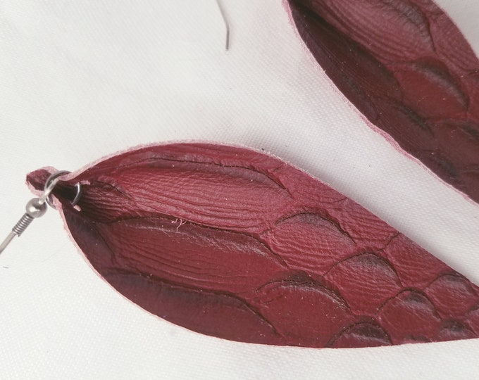 """Wine Serpent / Leather Statement Earrings / FREE SHIPPING/ Joanna Gaines / Zia Inspired / Leaf / Lrg / 3.25""""x1.25""""/ Hypoallergenic / Gift"""