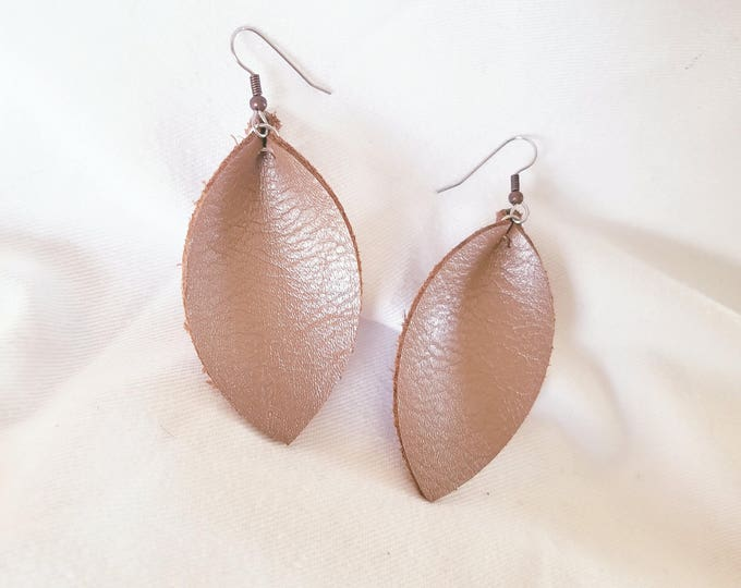 Brown Pearl / Genuine Leather Earrings / FREE SHIPPING/ /  /  / Statement/ Leaf / Medium/ Hypoallergenic