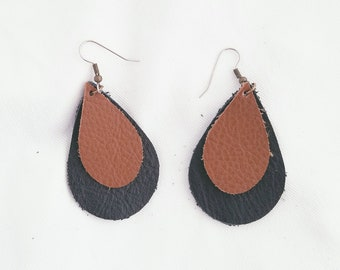 "Brown & Black / Leather Earrings / FREE SHIPPING / Teardrop / Layered / Two-tone / Medium/ 2.25""x1.5""/ Hypoallergenic / Easter / Mothers Day"