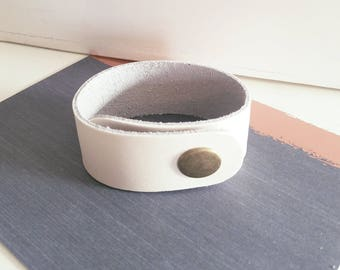 "Cream Metallic / Leather Cuff Bracelet / FREE SHIPPING /  Style/ Fixer Upper/ / Snap Closure/ 1""x 9/ Adjustable"