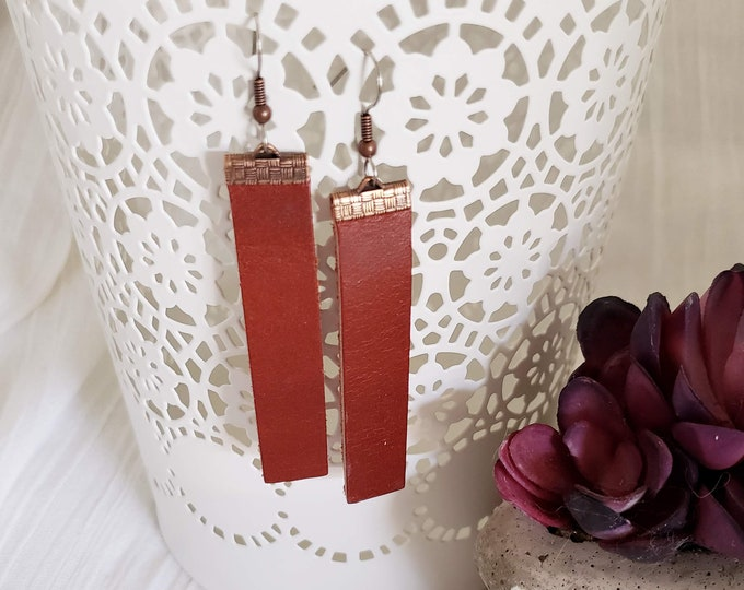 Cinnamon / Leather Bar Earrings / Rustic / Boho / Similar to  / Statement Earrings / Lightweight & Comfortable / Medium