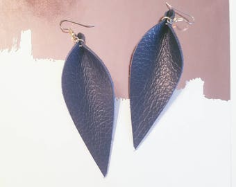 "Navy Blue / Leather Earrings / FREE SHIPPING /  / Fixer Upper /  / statement / Leaf / Long/ 3.5""x1.25"" / Hypoallergenic"