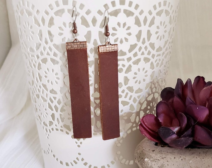 Chocolate Brown / Leather Bar Earrings / Boho / Rustic / Similar to  / Statement Earrings / Lightweight & Comfortable / Medium