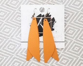 "Leather Earrings / Mustard Yellow / Pixie Style / Dragonfly Wings / Fairy Wings / Dangle Earrings / Handmade / Aella V Jewelry / 3""x .75"""