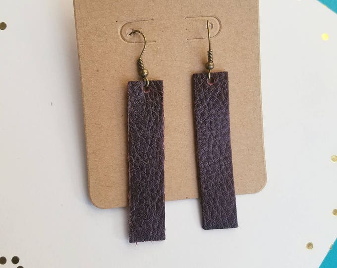 "Blackberry / Leather Earrings / FREE SHIPPING /  /  / Simple Bar / Minimal / Medium / 2""x.5""/ Hypoallergenic"