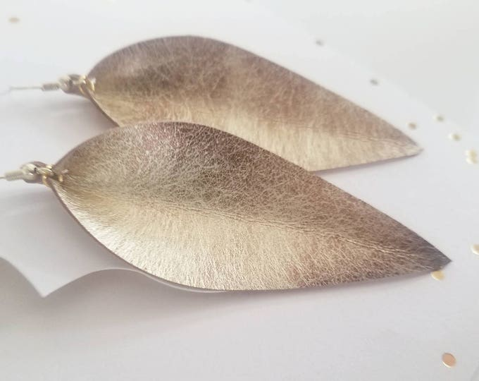 "Matte Gold / Leather Statement Earrings/ FREE SHIPPING/  /  /  / Elongated Leaf / Large/ 3.5""x1.25""/ Hypoallergenic"