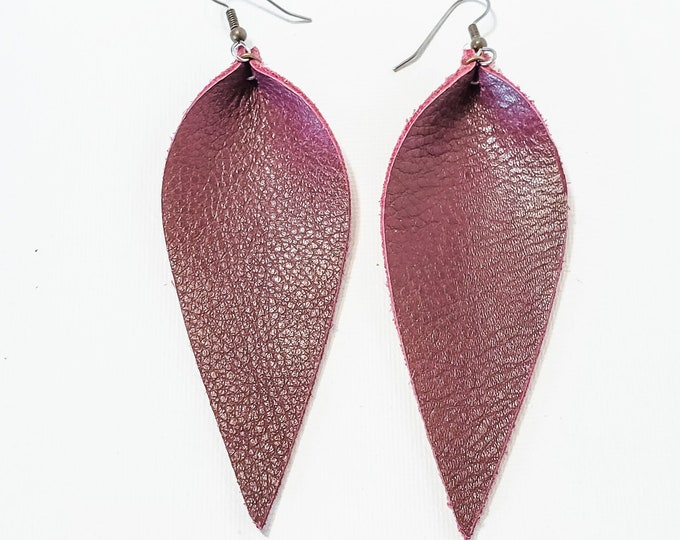 "Leather Leaf Earrings / Berry / Genuine Leather Earrings / Feather Earrings / Statement Earrings / Burgundy / Long Earrings / 3.5""x1.25"""