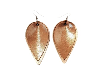 Genuine Leather Earrings / Layered Leaf / Caramel Latte / Shimmer / Handmade / Joanna Gaines Style / Large / Aella V Jewelry / FREE SHIPPING