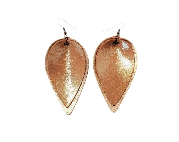 Genuine Leather Earrings / Layered Leaf / Caramel Latte / Shimmer / Handmade /  Style / Large / Aella V Jewelry / FREE SHIPPING