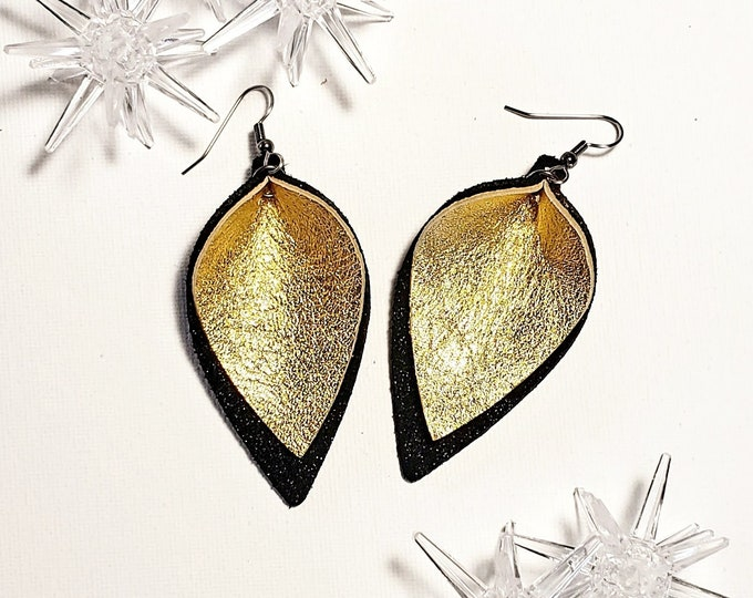 Holiday Gala Gold / Genuine Leather Earrings / Layered / Black & Gold / Handmade /  Style / Medium / AellaVJewelry / Gift Idea