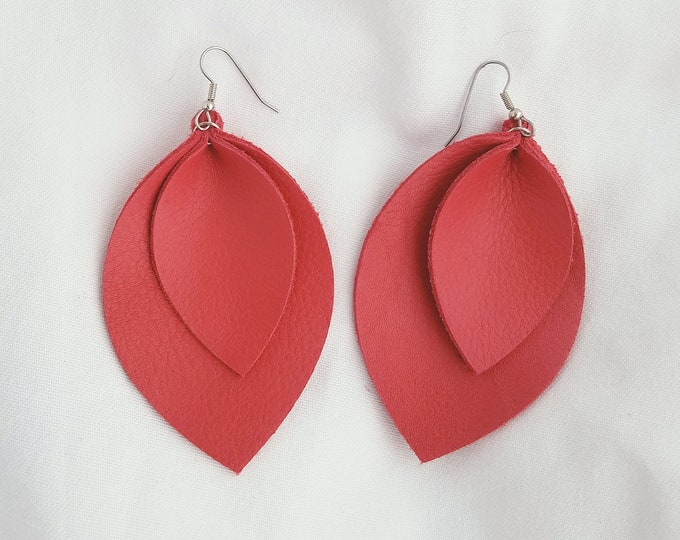"Cherry Tomato / Leather Earrings / Layered / FREE SHIPPING /  /  / Leaf / X-Large / 3.25""x 2.25""/ Hypoallergenic"
