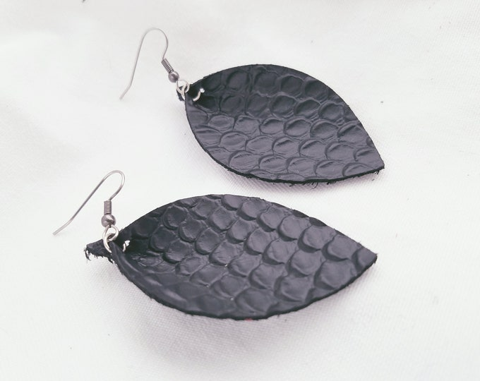 Black Leather Earrings / Snakeskin / Leather Leaf Earrings / Statement Earrings / Exotic / Haute Couture / Classic Style / Aella V Jewelry