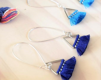 Triangle Fan Tassel Earrings, Blue or Dark Royal Blue, Tassel Jewelry, Small Tassel Earrings, Small Fringe Earrings, Dainty Jewelry, Minimal