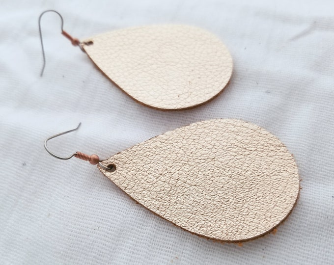 "Rose Gold Metallic / Leather Earrings / FREE SHIPPING / Lightweight / Comfortable/ Simple  / Teardrop / Medium / 2.25""x1.5"" / Hypoallergenic"