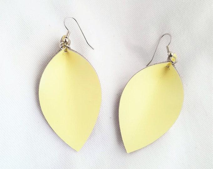 """Leather Leaf Earrings / Lemon Sorbet / Genuine Leather Earrings / Statement Earrings / Pinched Leaf / Yellow Earrings / Medium / 2.5""""x1.25"""""""