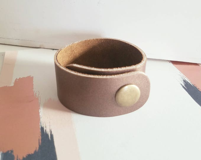 "Bronze Metallic / Leather Cuff Bracelet / FREE SHIPPING /  / Fixer Upper / / Snap Closure/ 1""x 9"" / Adjustable"
