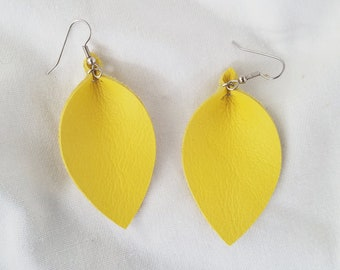 "Daffodil / Leather Statement Earrings / FREE SHIPPING /  /  /  / Leaf / 2.5""x1.25""/ Hypo-Allergenic / Spring"