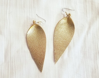 "Gold Metallic / Leather Earrings / FREE SHIPPING /  /  / Statement / Petal / Leaf / Long/ 3.25""x1.25""/ Hypoallergenic"