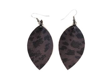 Leather Earrings / Midnight Cheetah / Leaf Shape /  Style / Boho / Handmade / Lightweight /Comfortable/ Medium/ Aella V Jewelry