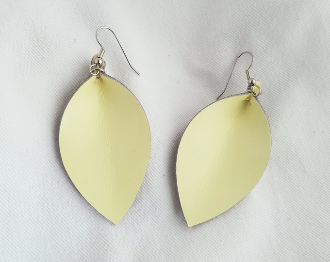"Lemon Sorbet / Leather Earrings / FREE SHIPPING /  /  /  / Leaf / Medium / 2.5""x1.25""/ Hypoallergenic"