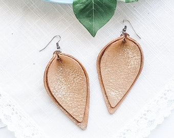 Genuine Leather Earrings / Layered Leather Earrings / Caramel Latte Shimmer / Petal /  Rustic Style / Statement Earrings / Aella V Jewelry