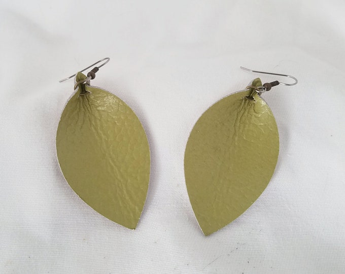 "Green Tea / Leather Statement Earrings / FREE SHIPPING /  /  /  / Leaf / 2.5""x1.25""/ Hypoallergenic/ Spring"