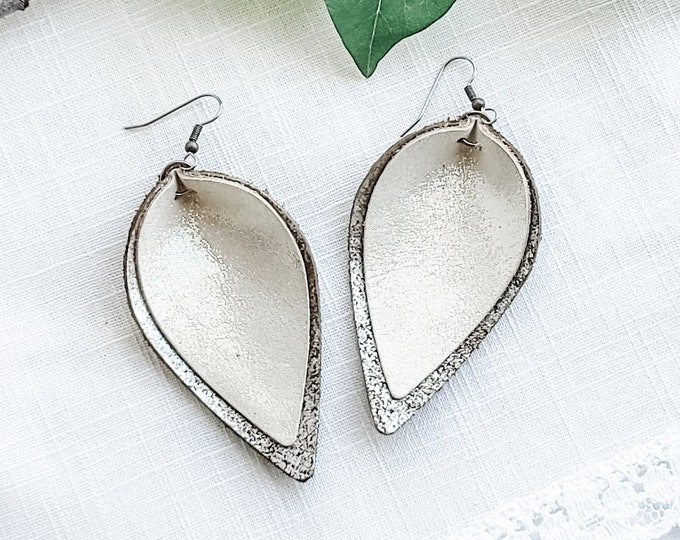 "Bronze Frost / Genuine Leather Earrings / Layered Leather Earrings / Petal /  Rustic Style / Statement Earrings / Aella V Jewelry / 3x1.75"""