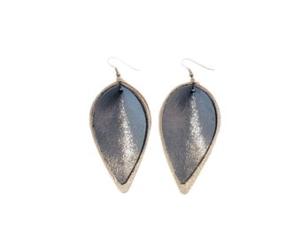 Genuine Leather Earrings / Layered Leaf / Ice Queen (Blue/Silver) / Shimmer / Handmade /  Style / Large / FREE SHIPPING