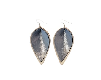 Genuine Leather Earrings / Layered Leaf / Ice Queen (Blue/Silver) / Shimmer / Handmade / Joanna Gaines Style / Large / FREE SHIPPING