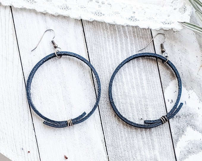 Black Leather Hoop Earrings / Rustic Hoop Earrings / Minimal Hoop Earrings / Boho Style / Gift for her / Aella V Jewelry / 2.25 x 2.25""