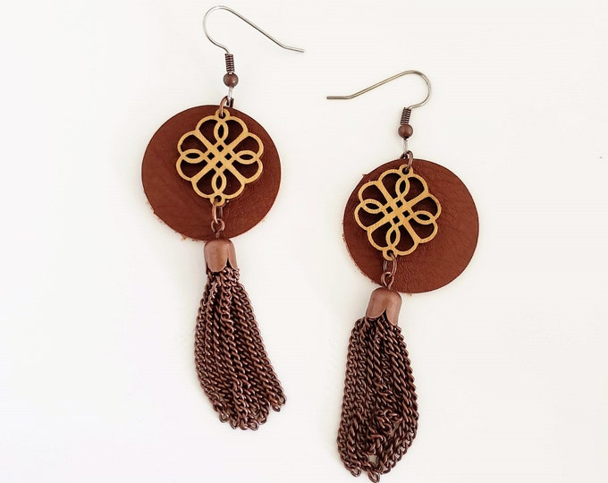 "Tassel Earrings / Leather & Wood Earrings / Brown or Black / Lightweight / 3"" x 1""/ Aella V Jewelry"